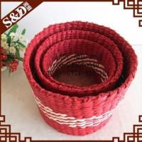 欧美出口礼品篮  纸带编织礼品篮 手工礼品包装果篮礼品篮 编织