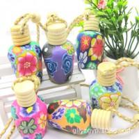 五一节热卖 软陶汽车香水挂件15ml 创意小商品 艳丽花色百种款式