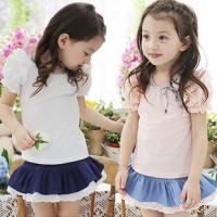 童装代理加盟2014夏装女童短袖套装一件代发童装分销