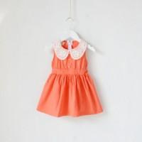 一件代发 外贸童装 女童翻领拼接公主裙 纯棉梭织背心连衣裙 0038