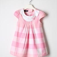 一件代发 童装女童夏季外贸格子纯棉连衣裙0008