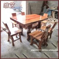 推荐简约美观天然原木家具 家用简易餐台实木餐桌加工