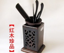 红木工艺品鸡翅木两面雕刻镂空茶道