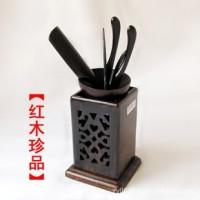 红木工艺品鸡翅木两面雕刻镂空茶道六件套功夫茶具居家日用装饰品