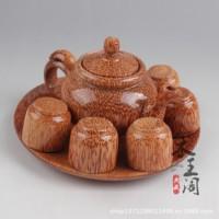 厂家直销 越南椰子木茶壶套装 木质茶具茶杯茶垫 茶具8件套B28