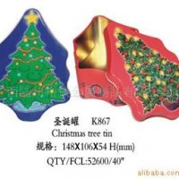 供应圣诞树罐、礼品罐、马口铁罐