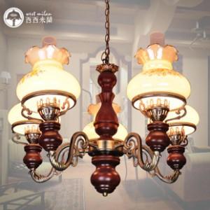 复古田园铁艺纯手工 卧室实木铁艺复式楼照明灯具 客厅吊灯