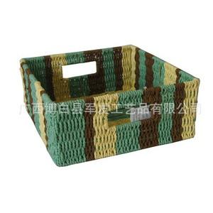 厂家直销 低价供应大容量KN15826-11混色纸绳长方筐 经济实用