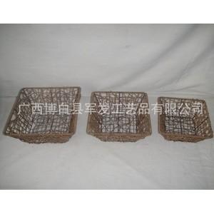 供应环保PP塑料编织篮 仿藤包装篮 PP手工编织包装食物篮