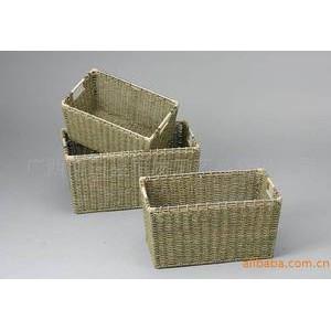 厂家直销 时尚乡村风格草编篮 手工编织储物篮框 工艺置物篮