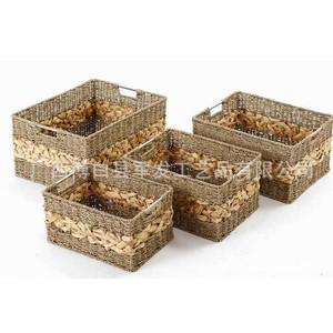 厂家直销 手工编织收纳篮 美观环保储物筐 草藤篮