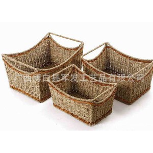 厂家直销家居用品草编收纳篮、置物篮