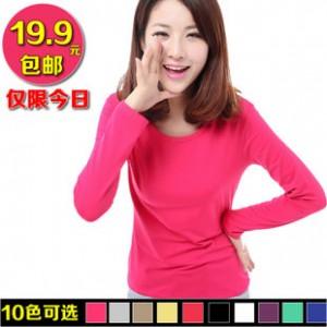 2013秋装新款女装韩版长袖t恤女百搭修身加绒加厚打底衫圆领时尚