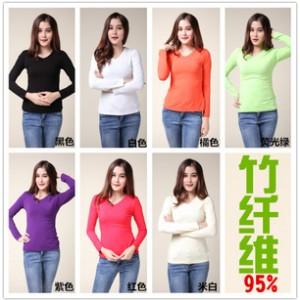 厂家直销 时尚秋装竹纤维女装长袖t恤女款韩版打底衫