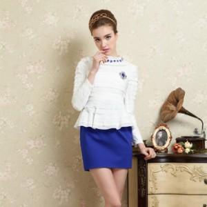 2014春装新款女装波浪边蓝宝石雪纺假两件修身包臀裙女长袖连衣裙