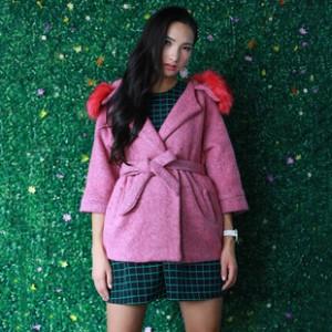 品牌女装外套 时尚韩版宽松版连帽七分袖女款外套 秋季新款外套女