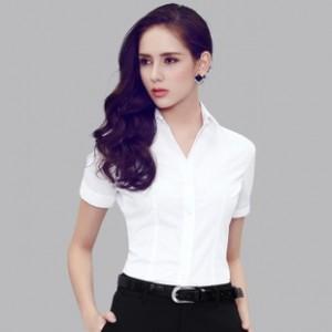 细斜纹短袖夏季职业修身女衬衫 V领ol气质女装白/粉/蓝色