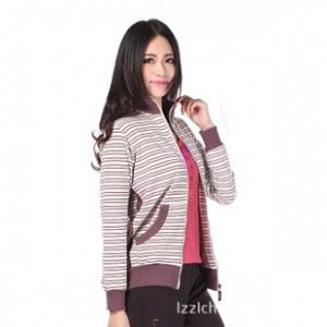 新 2013秋款 天周(香港)运动女装大码 条纹立领 针织外套ZL650