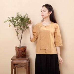 民国学生装 原创棉麻女装 复古文艺中式改良棉麻春夏七分袖衬衫