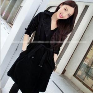 秋冬新品韩版 女装毛呢外套 女式风衣大衣配腰带 修身保暖呢大衣