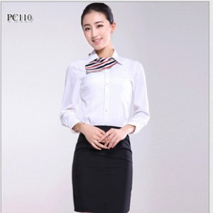 厂家直销 女装长袖修身白色衬衣 2014新款商务衬衫  质量保证.