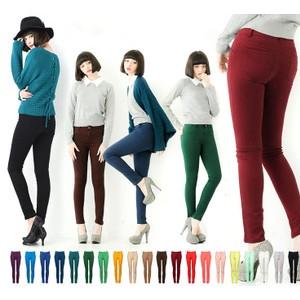 【圣健华】2015女式休闲裤 女士瘦腿糖果色修身弹棉铅笔女裤批发