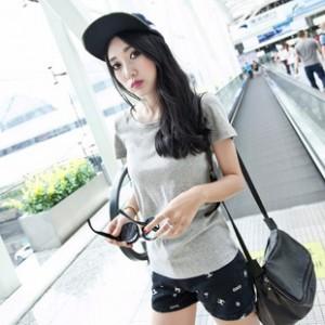女式T恤纯色夏装圆领休闲短袖t恤女装时尚打底衫灰色韩版上装