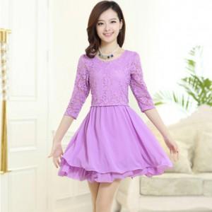 2014新款夏季连衣裙 修身七分袖雪纺裙 勾花镂空蕾丝女装