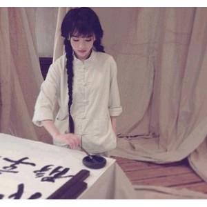 南笙同款 亚麻 棉麻女装 原创 长袖盘扣立领衬衫中式文艺上衣外套