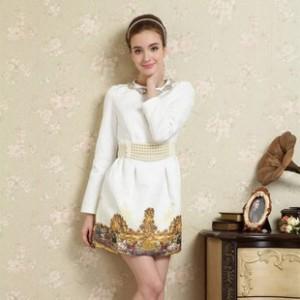 雪罗妮春季新款女装订珠浮雕小香风中长款秋冬打底长袖连衣裙