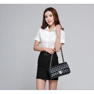 女潮新款韩版女装修身短袖雪纺衬衫女上衣打底衫