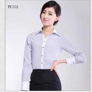 厂家直销 女装长袖条纹衬衣 2014新款商务工装衬衫  质量保证.