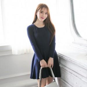 小香风2014韩版女装 秋冬时尚新款~OL百搭舒适打底长袖修身连衣裙