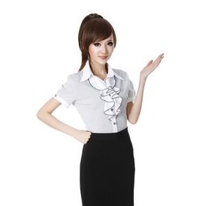 2014新款春装韩版 短袖女衬衣翻领白色 OL女装修身短袖女雪纺衬衫