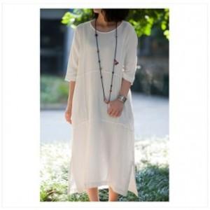 外贸原单女装 出口订单 棉麻原创 棉麻纯色长袍裙子 秋季连衣裙