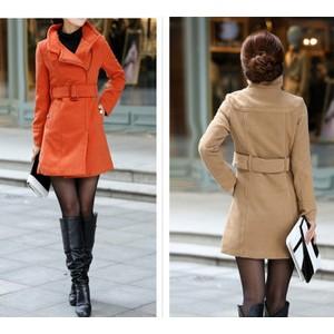 厂家直销2014年新款大衣女秋冬服装女装风衣韩版加厚毛呢外套修身