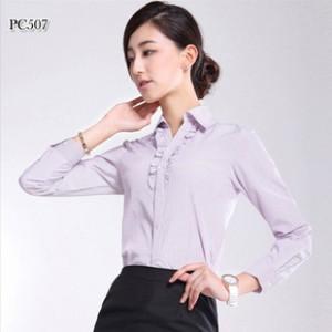 厂家直销 女装条纹长袖衬衣 2014新款商务工装衬衫  质量保证.