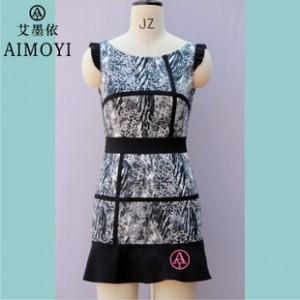 2015女装新款夏装 豹纹 韩板修身 改良旗袍裙 连衣裙