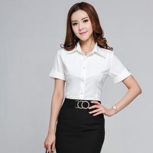 春装新款韩版女装修身短袖雪纺衬衫女上衣打底衫女潮