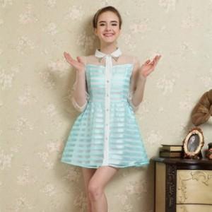 雪罗妮女装欧根纱芭比娃娃领灯笼袖淑女五分袖A连衣裙 品牌招代理