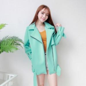 2014韩版女装爆版秋冬季时尚新款大牌百搭马卡龙拉链长袖外套