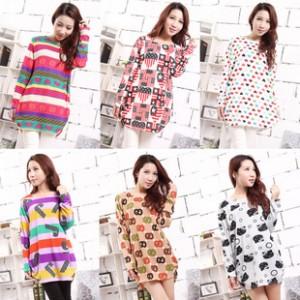 韩版大码女装2014新款女式中长款长袖宽松可爱印花纯棉T恤分销