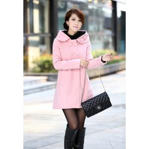 新款秋冬服装女装毛呢风衣外套韩版修身连帽双排扣加厚女式大衣