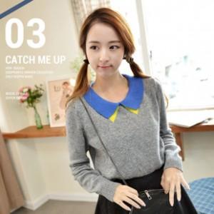 2014韩版女装纯棉长袖毛衣 百搭翻领长袖套头针织衫外套毛线衣