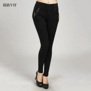 秋季时尚新款女式牛仔裤 优质时尚牛仔小脚裤 韩版时尚钉珠牛仔裤