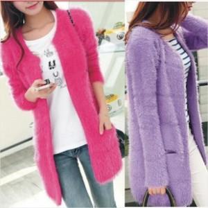 2014秋冬韩版长袖毛衣 中长款马海毛针织衫开衫女装外套