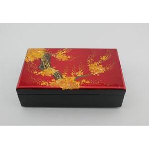 礼品盒收纳盒复古包装盒 红色婚庆漆器首饰珠宝盒 中号17*9*3
