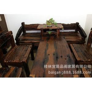 实木家具原生态古船木茶几沙发条凳展架八件套YWD109