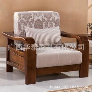 8745 中式单人双人沙发    全实木布艺沙发组合 客厅家具
