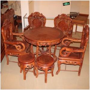 [红连地]缅甸花梨餐桌 花梨竹节圆桌